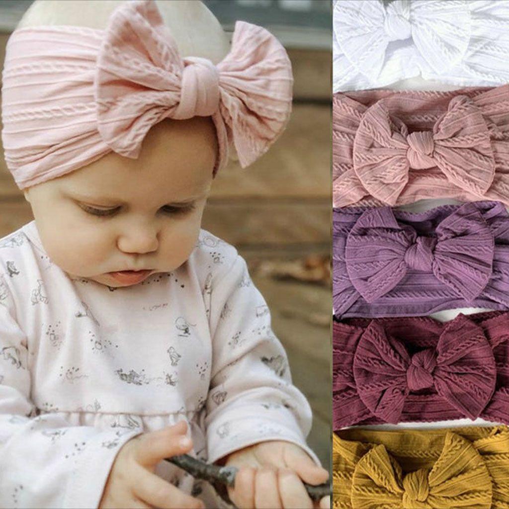 Fashion Baby Girls Bowknot Bandeau Bande Européenne Américaine Enfants Soft Jacquard Nylon Enfants Coiffeuse Coiffeur Bow Elastique Rubans C6811
