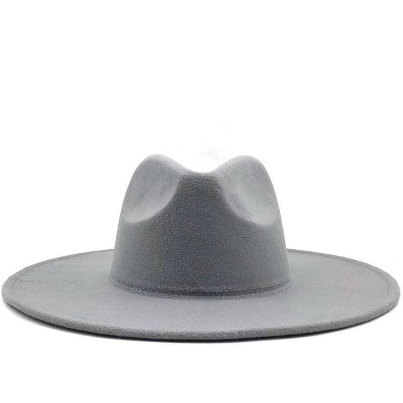 Prosty brytyjski styl zima wełna solidna klasyczna fedoras czapka mężczyźni kobiet panama kapelusz jazzowy 9.5 cm szeroki Brim Big Fedoras 201028
