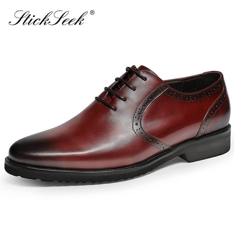 Mode en cuir véritable homme Plate-forme Formal Dress Derbies Chaussures bout rond Dentelles main bureau d'affaires hommes Oxfords HS165