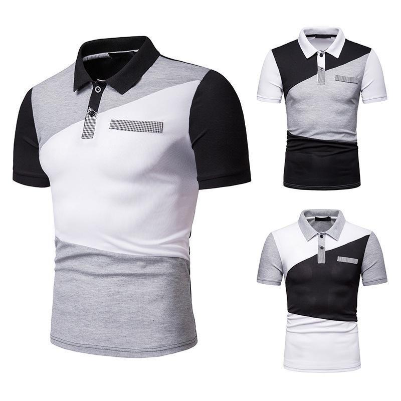 Color coincidencia suelta mangas cortas camiseta para hombres verano Casual remiendo para hombre camisetas Tops Homme