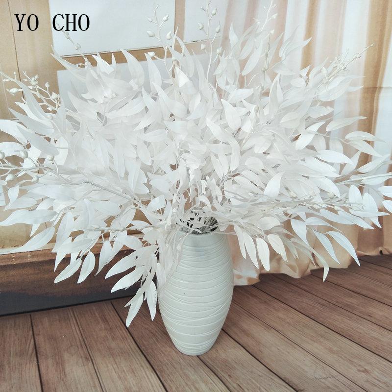 Artificial White Flower Plant Wedding Bouquet Decoration Silk Flower Home Vase Decor Willow Leaf Green Grass Fake Flowers
