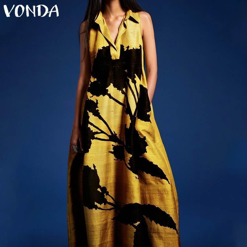 Günlük Elbiseler Vonda Yaz Kolsuz Elbise Artı Boyutu V Boyun Baskılı Kadınlar Çiçek Baskı Parti Tatil Vestidos
