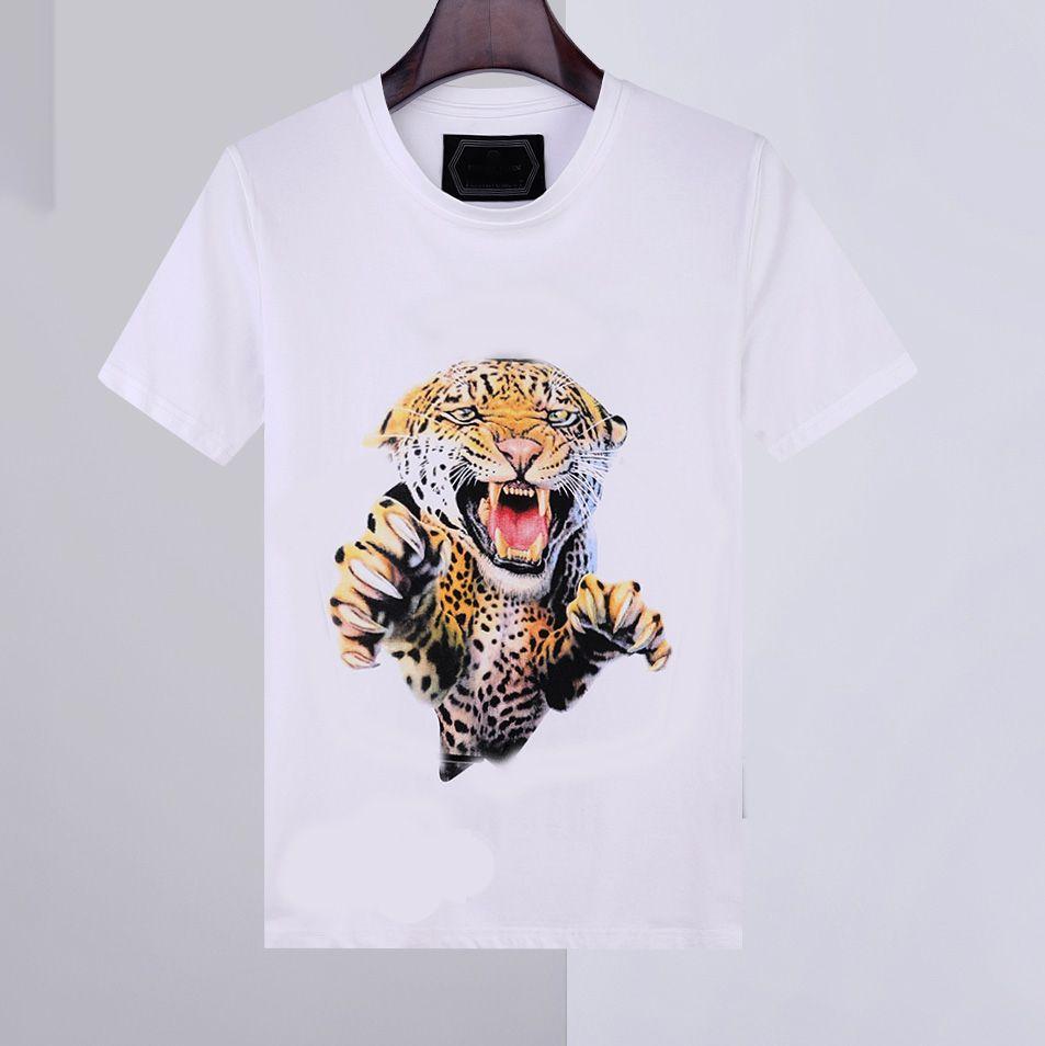 20ss 새로운 망 셔츠 여름 티셔츠 짧은 소매 티 필립 일반 100 % 코튼 동물 인쇄 라운드 넥 패션 남자 티셔츠