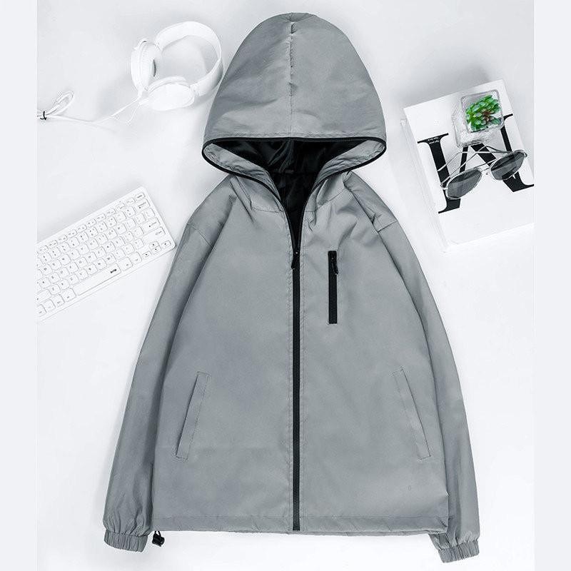 Erkek Kadın Ceketler İyi Qualitng 100% Pamuk Uzun Kollu Fermuar Rahat Ince Asya Boyutu Düzenli Doğal Renk Uiujd Yansıtıcı VBVJDD BV