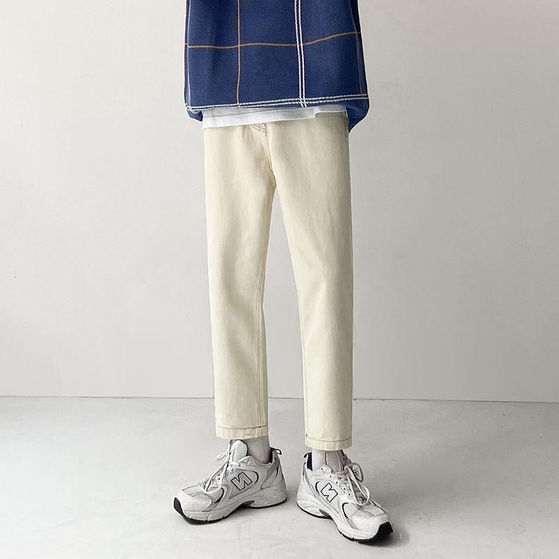Koreli Düz Bacak Jeans Erkekler İnce Moda Retro Casual Haki Jeans Erkekler Streetwear Vahşi Denim Pantolon Erkek M-2XL Hip-hop