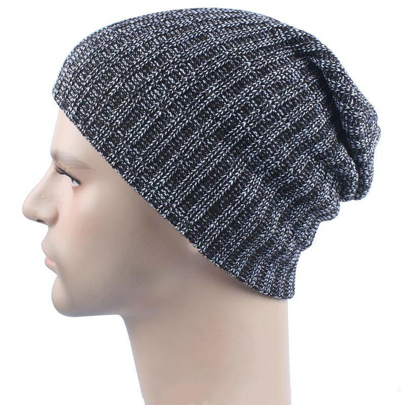 مزيج الألوان الشتاء عارضة القطن متماسكة القبعات للرجال فضفاض قبعة قبعة الكروشيه slouchy المتضخم غطاء التزلج الدافئة JF-11