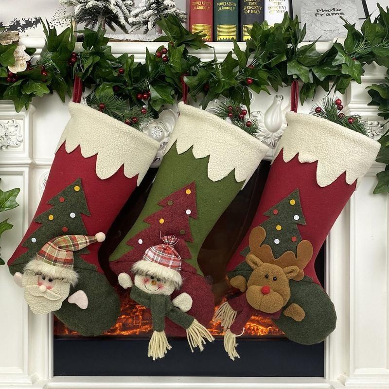Stockings Santa Claus Sock Gift Kids Candy Bag Snowman Deer Pocket Xmas Decoration For Christmas Tree Ornaments