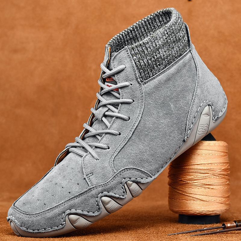 Кожа мужчины Зимние сапоги Мужчины Осень Зима Снег Повседневная обувь Мужчины Открытый свет голеностопного Sapatos Para Hombre кроссовки большого размера 2.5a