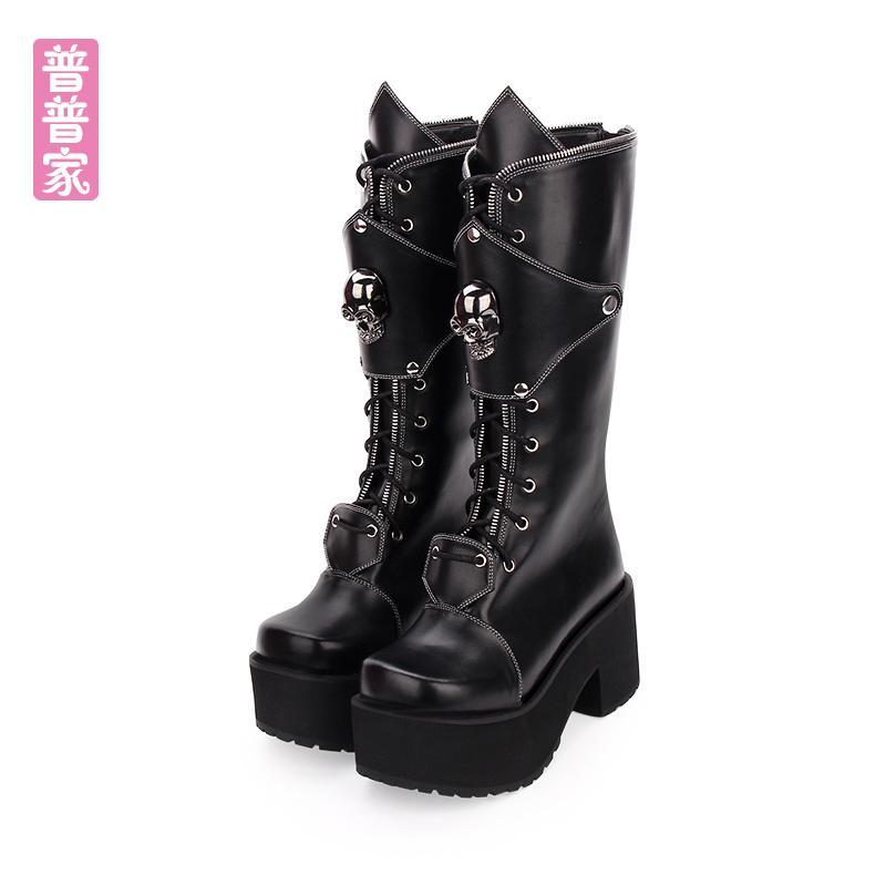Princesse chaussures punk doux vent hiver gothique et punk crâne rivet zipper automne bottes hautes fond épais femmes de mode pu910