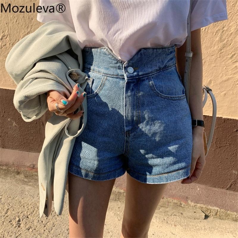 Mozuleva Vintage Cintura Alta Mujeres Denim Pantalones cortos Botón Suelto Denim Blue Streetwear Verano Mujer Jeans Pantalones cortos Biker Short Y200822