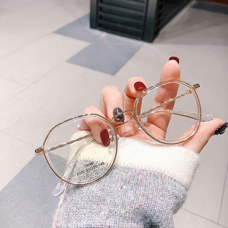 jfzC5 Gözlük çerçevesi düz mercek miyop kadınlar ve erkekler moda moda poligon tam çerçeve yeni Miyop Düz 2030 gözlükler