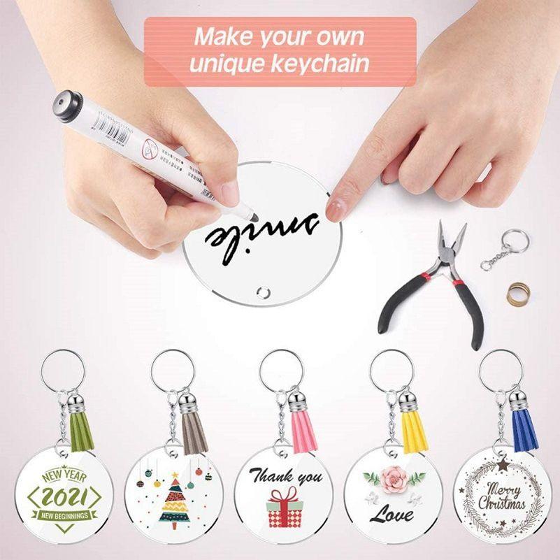 DIY Handmade Crafts Souvenir Transparent Acrylic Keychain Discs Blank Multicolor Tassel Pendant Keychain Set Car Keyring Handbag HHF4749