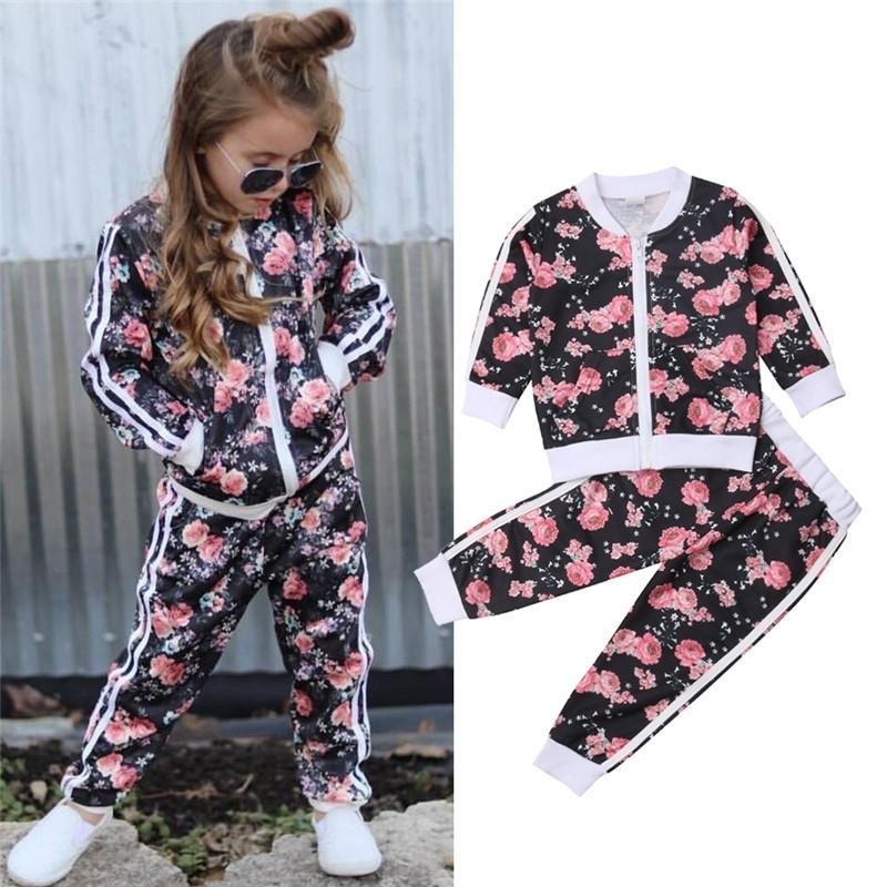 3-7 anos crianças bebê menina de roupa conjunto floral impressão manga longa moletom calça longa roupas roupas de outono outono vestuário 20116