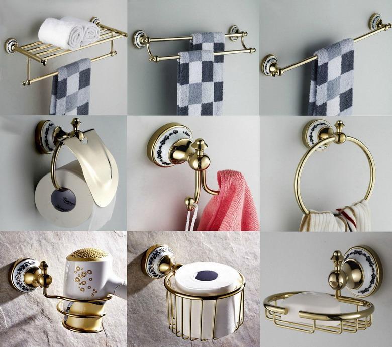Золотой цвет латунь ванной Аппаратная Набор полотенец стойку Ванна держатель для туалетной бумаги Держатель для зубных щеток Настенный LJ018