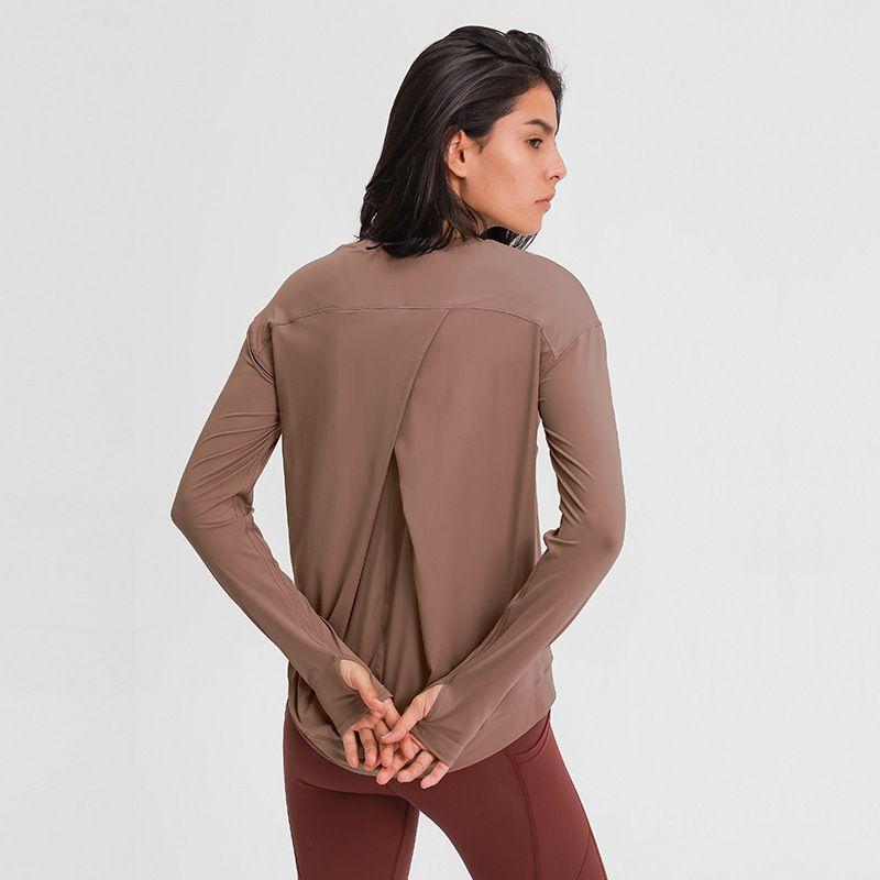 L-20 خط الربط الرياضية طويلة الأكمام اليوغا قمم رياضة ملابس النساء الصلبة اللون بسيط الترفيه قطعة الظهر عبر داخلي القمصان