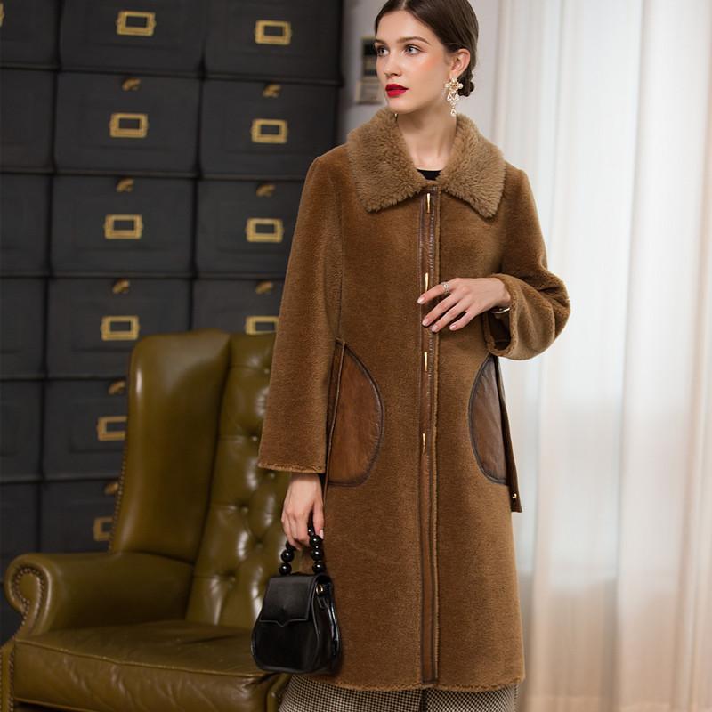 Furma damska Faux żeński płaszcz Prawdziwa zima Long 100% wełniana kurtka Kobiety Ubrania 2021 Koreański Vintage Shearing Shearing Coats Tops Hiver 18123