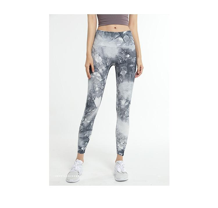Legging Women Sports Pants Tie-dye Print Contrast Colors Running Yoga Joggers Trendy Womens Dance Fitness Pants Wholesale