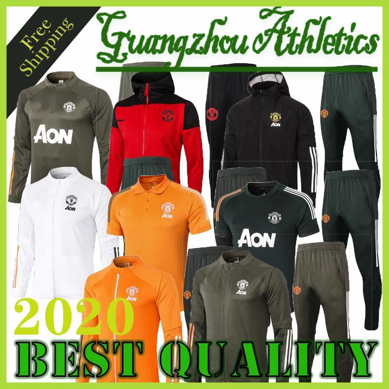 20 21 Cavani traje de entrenamiento hombres MARTIAL Rashford ropa deportiva de fútbol de la chaqueta azul de pie trotar 2020 2021 Pogba Greenwood fútbol chándal