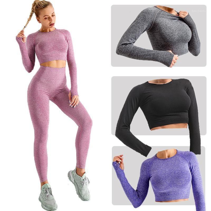 Outfits Йоги 2021 Спортивный Урожай Топ Женская Мода Бесшовные Рубашка Высокая Протяженная Дышащая Длинный Рукав Sportswear1