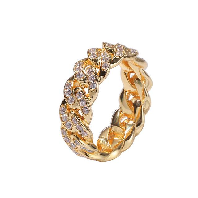 Hip Hop Popular Bling Iced Out Cuban Chain Copper Zircon Ring For Men Women Jewelry Gold