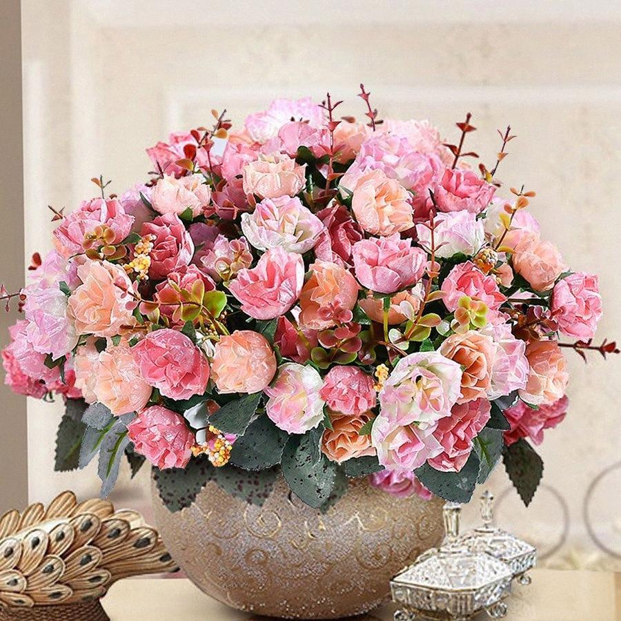 7 Filial 21 Chefe Francês Rose Folha Artificial Silk flores falsificadas de alta qualidade Flores Bunch Vintage Wedding Floral Decoração otok #