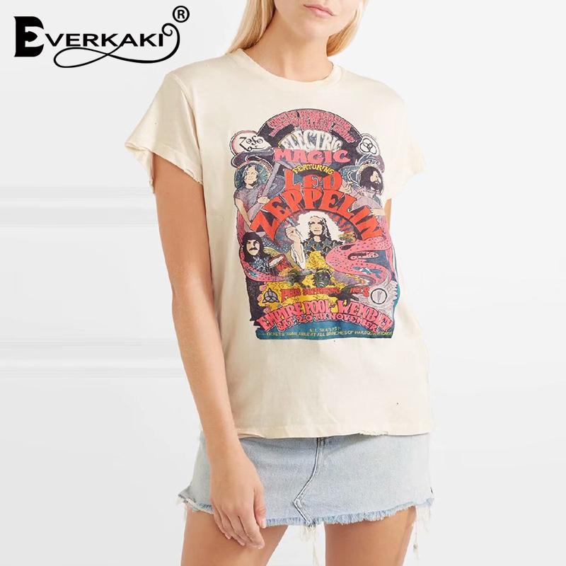 Everkaki boho moda engraçado impressão t-shirt tops mulheres casual manga curta algodão boêmio senhoras t-shirt superior verão novo y200111