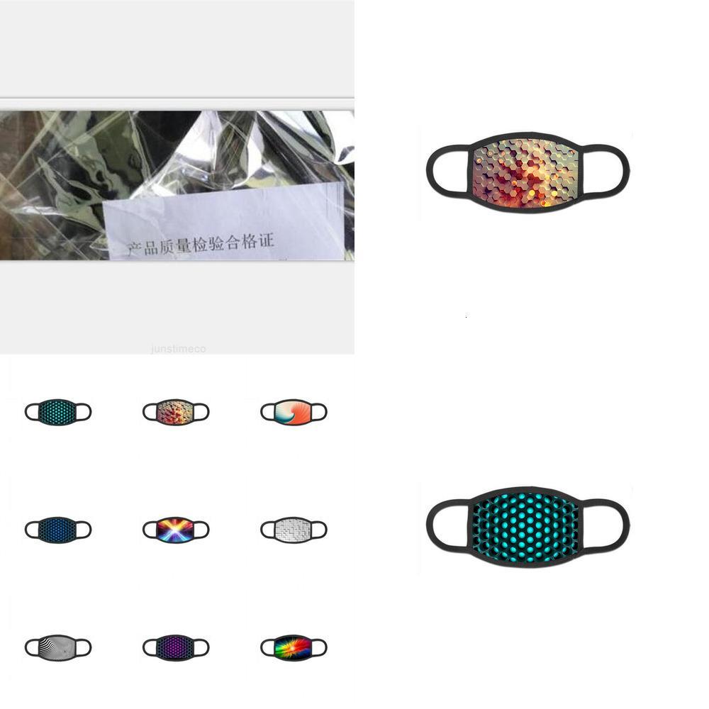 Wiederverwendbare Anti-Atemschutz-Nebel-Tuch Mascarilla-Gesichtsmaske staubdichte digitale Druckraum Geometrie Mode 3D heißer Verkauf 5JQ d2