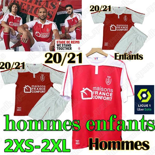 2020 21 Stade de Reims maillot de futebol pé jerseys CAFARO KONAN DIA FOKET CHAVALERIN Zeneli TOURE Homens Crianças hommes camisa enfants de futebol