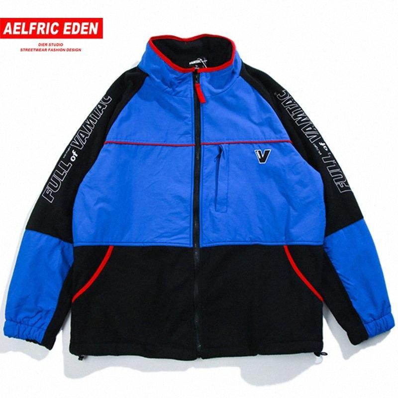 Aelfric Eden Kış Vintage Renkli Blok Parkas Hip Hop Full # nbuz Parça WINDBREAKER Coats Moda Günlük Streetwear Ceketler Mt29 Zip