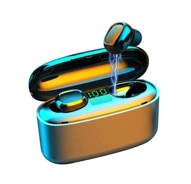 Drahtlose Kopfhörer Bluetooth V5.0 G5S TWS drahtloser Bluetooth-Kopfhörer-LED-Display mit 3500mAh Energien-Bank-Headset mit Mikrofon