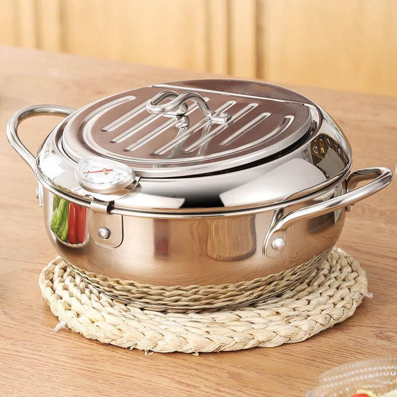 Kitchen Deep Frying Pot Thermometre Tempura Fryer Pan Temperature Control Fried Chicken Pot Cooking Tools Stainless Steel by sea