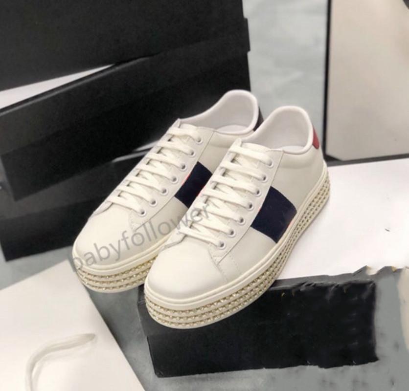 Gucci shoes Tasarım Sneakers Ayakkabı Moda Lüks Tasarım Kadın Ayakkabı Yüksek Platformu Lace Up Ace Deri Kristal Alt Ayakkabı ile Koşu