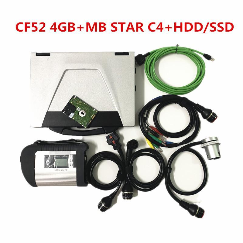 CF52 Laptop i5 4 GB com MB Estrela C4 / C5 / C6 V2020.09 Macio-ware SSD / HDD com ferramentas de diagnóstico mb estrela C4
