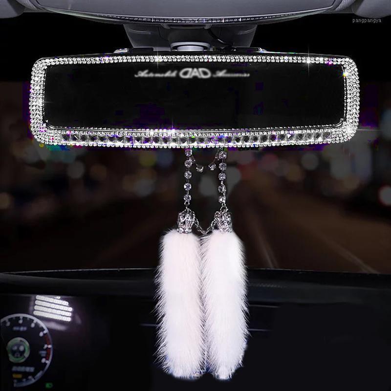 Crystal Diamonds Car Rear View Mirror Cover Bling Rhinestones Car Rear View Mirror Decoration For Women Auto Interior Trim1