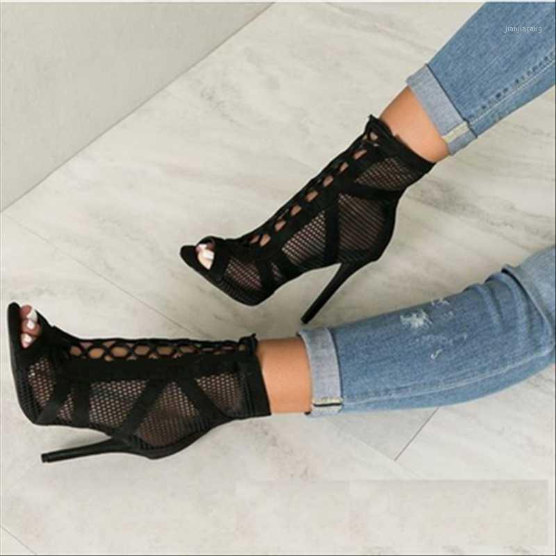 Été peep Toe Toe Toe Sandales Bottes Bottes Mince High High Heels Mesh Hollow Women Femmes Pumes Cross-Lady Lady Gladiators Chaussures Sandal sexy Sandal1