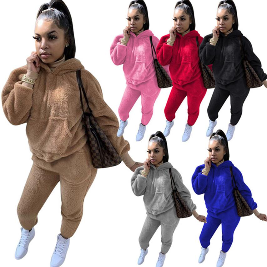 Women velour two Piece Set Outfits pullover Leggings Sweatsuits S-2XL Hooded Hoodies Pants trackusuits Fall Winter Clothing Sportswear 4026