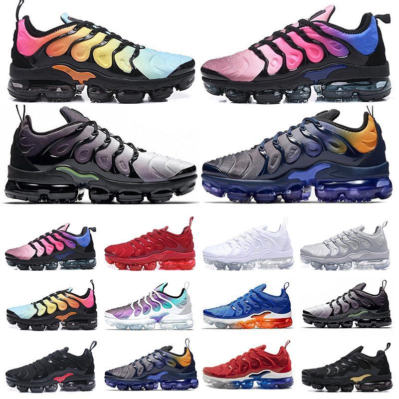 vapormax tn plus Las nuevas llegadas chaussure TN Plus de los zapatos corrientes de 2018 hombres al aire libre tn Run Zapatos Negro Blanco Formadores Senderismo