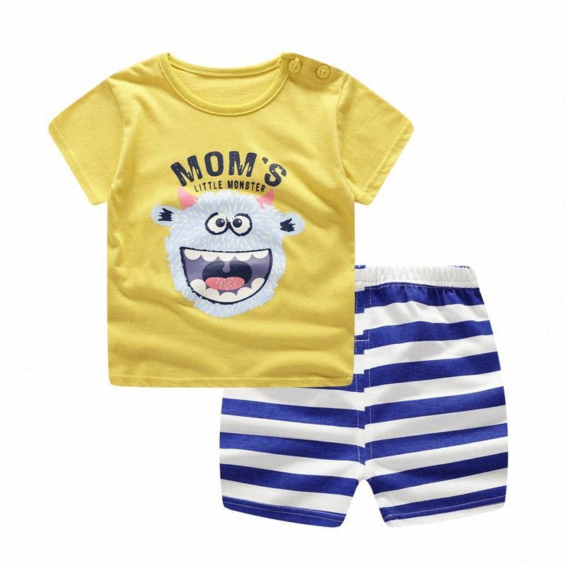 Baby Girl vestiti belli della ragazza del neonato Summer Infant abbigliamento vestiti a strisce Shorts + Giallo Top Tees Outfits V6Cd #
