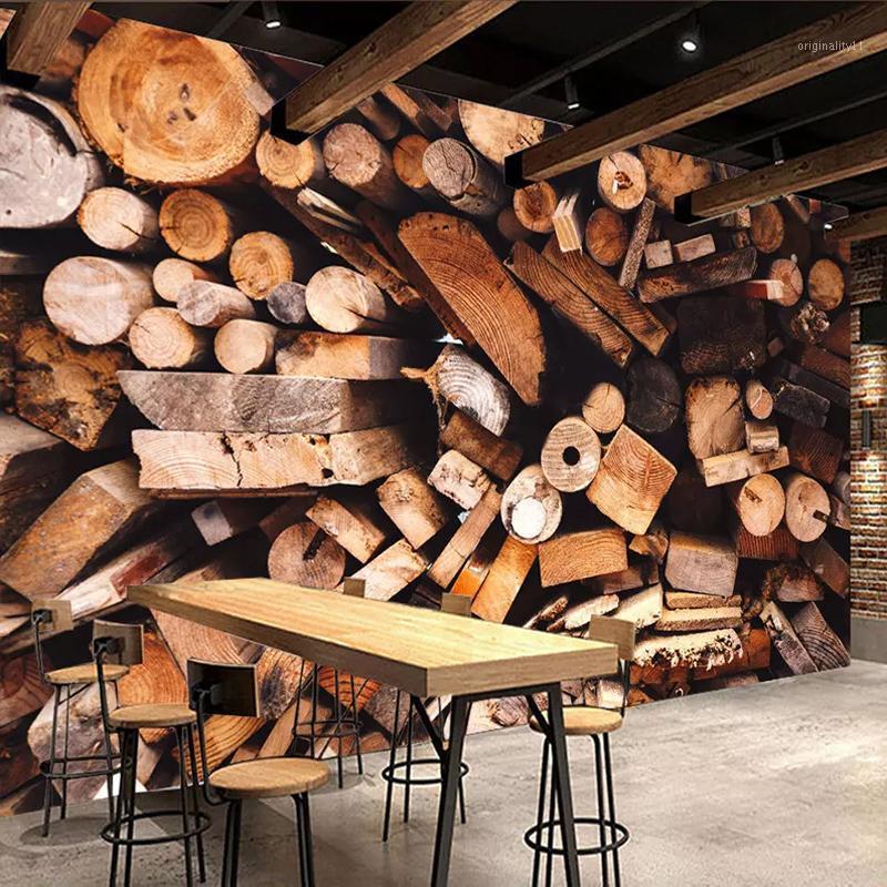 Envío de gota Personalizado de cualquier tamaño retro nostalgia madera grano 3d foto de pantalla para la decoración de la pared decoración mural papel pintado impermeable1