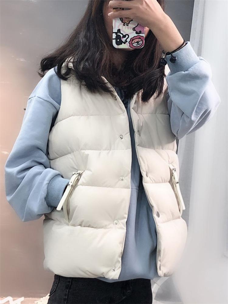 2019 новых женщин вниз хлопка проложенный рыхлый осень зима женский жилет жилет