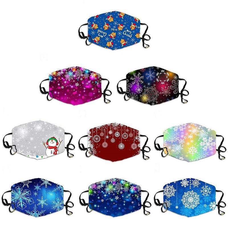 Máscaras de diseño navidad lavable lavable mascarillas protectoras de la cara de nevado de nieve, cubierta de boca impresa, adulto, máscara para niños