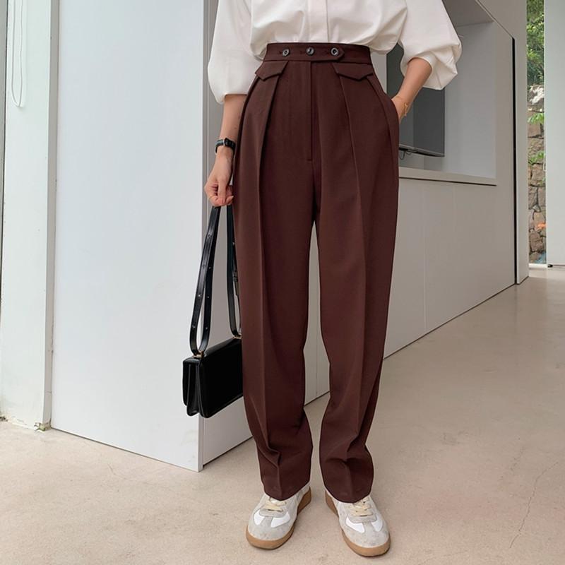 Frauen Hosen Capris Plus Größe Minimalistische Hohe Taille Wide Bein Frauen 2021 Frühling Herbstarbeit Lässige Straight Anzugshose