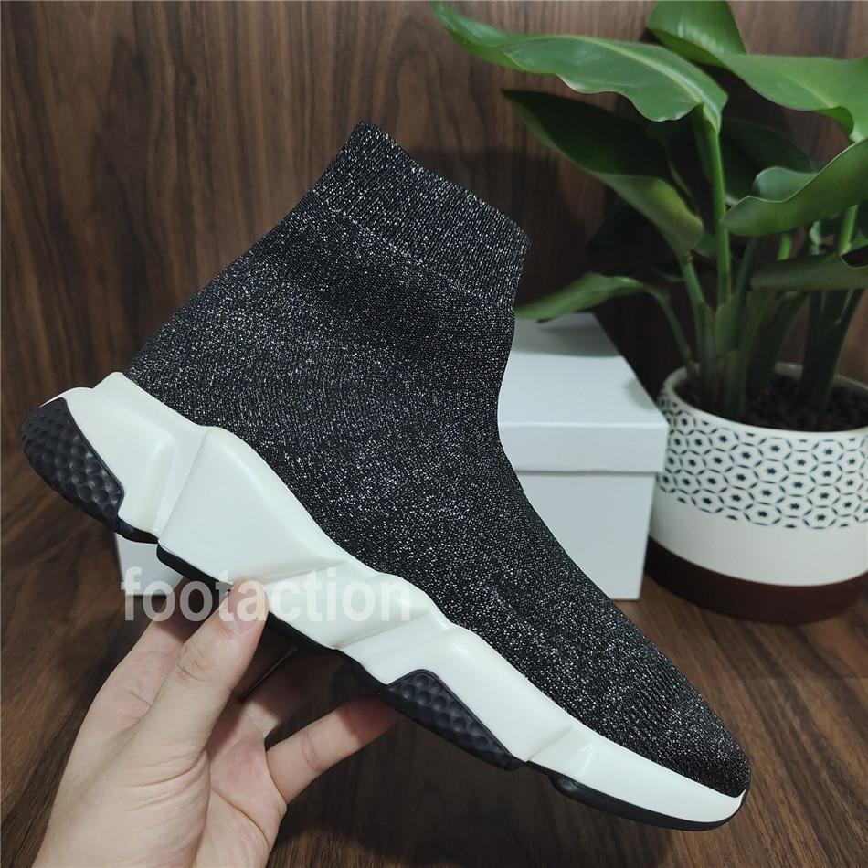Yeni Geliş Erkekler Çorap Ayakkabı Yüksek TOP Bilek Stretch Örme Eğitmenler Chaussures Erkekler Rasgele Flats Ayakkabı On Siyah Sneake Kayma