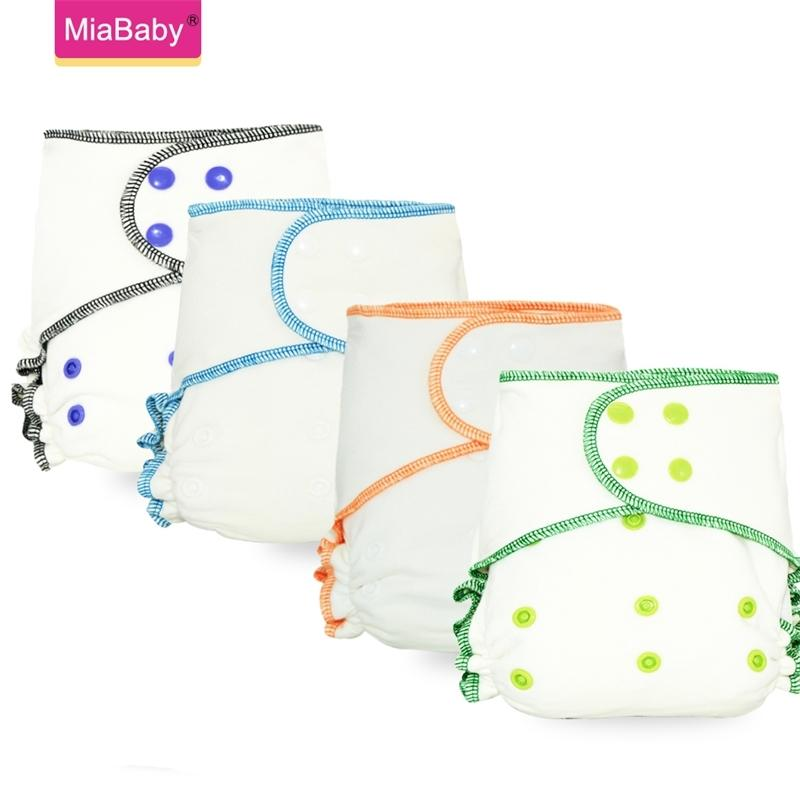 Miababy OneSize Bamboo Cotton Fitted Cloth Diaper Heavy Wetter Baby Nappy Eco-friendly diapers fit 3-15kg baby 201117