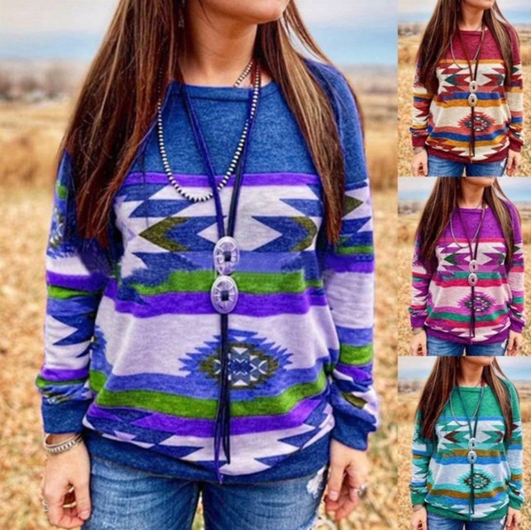 Otoño e invierno floja atractiva larga de la manga de la camiseta femenina floral tops de las camisetas