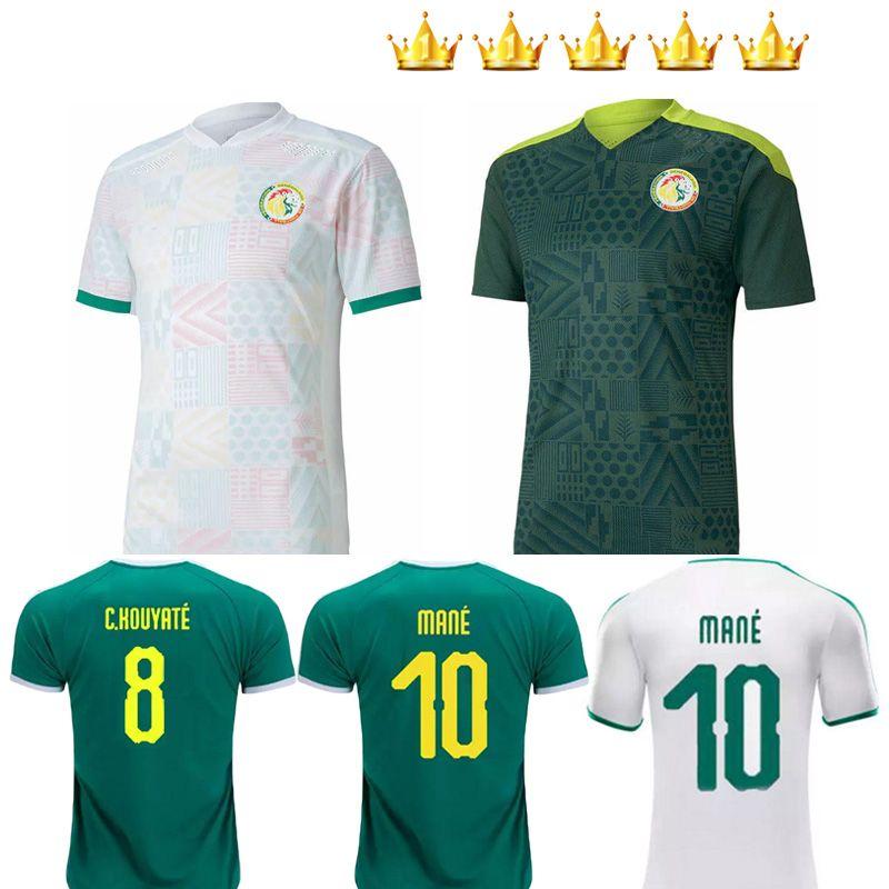 20 21 Sénégal Soccer Jersey Top Qualité Sénégal 2020 2021 Accueil Blanc Elevé Green Balde Koulibaly Mane Football Team Shirt de football Jerseys