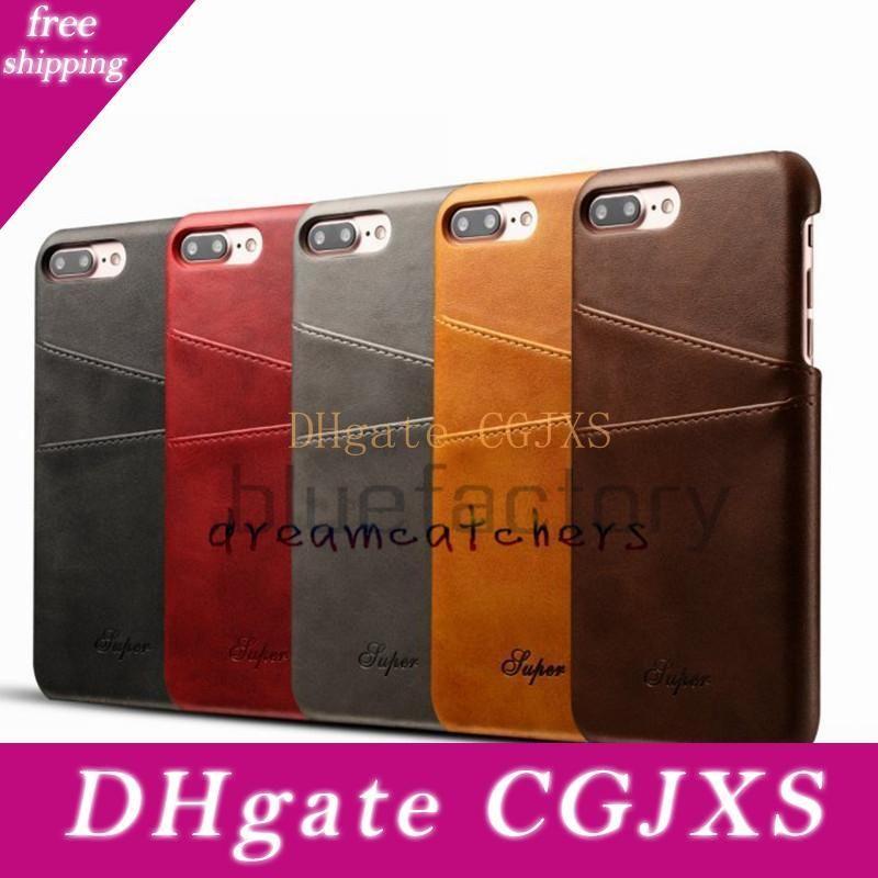 Neue Luxus-Mappen-Leder-Kasten für Iphone 7 mit Kreditkarte Pokect Slots-Abdeckung für Iphone 7 plus