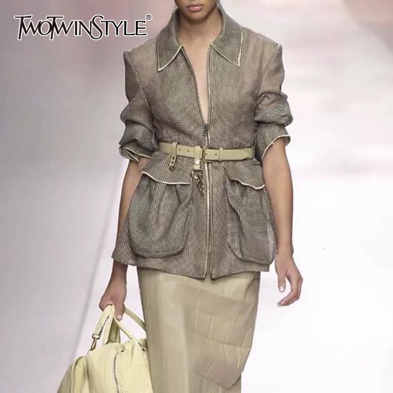 Twotwinstyle Streetwear Plus Taille Courroie à manches longues à manches longues Élévée Green Grand Manteaux de poche et vestes Vêtements pour femmes 2020 été 1014