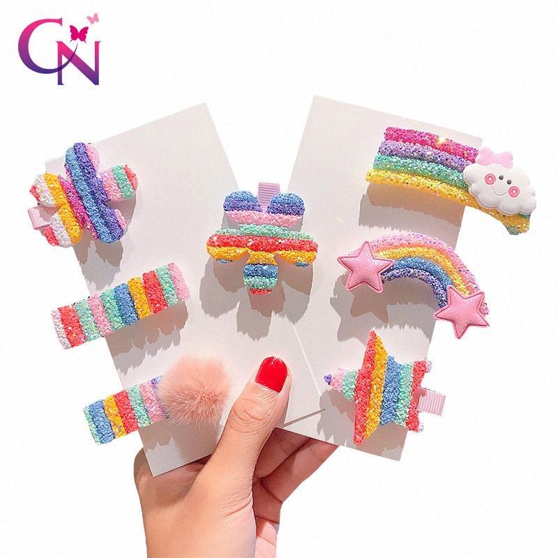 CN Cute Glitter Rainbow Hair Clips For Girls Kids Star Cartoon Hair Bows Ornament Hairpin Barrettes Summer Accessories Infant Girl Hai c3A1#