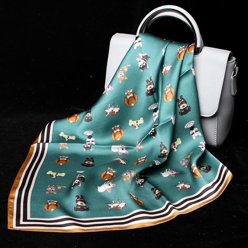 100% Seide Kleiner Schal Bandana Frauen-Schal für Ausschnitt Dog Drucke Kerchief Stirnband-Haar Zubehör für elegante Dame-Mädchen-53 * 53cm 200930